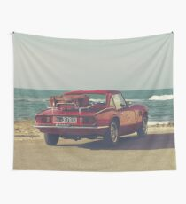 Triumph Spitfire by the sea, with ship, fine art photo, british car, sports car, color, high definition, classic car, supercar, old car print Wall Tapestry