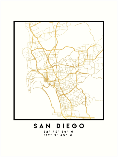 San Diego Map City.San Diego California City Street Map Art Art Prints By Deificusart