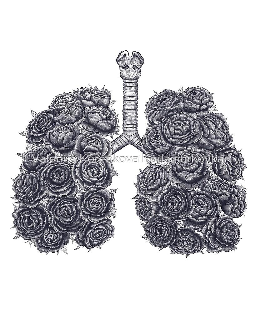 Lungs with peonies by Valeriya Korenkova Kodamorkovkart