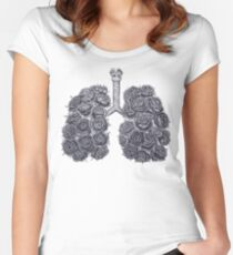 Lungs with peonies Women's Fitted Scoop T-Shirt