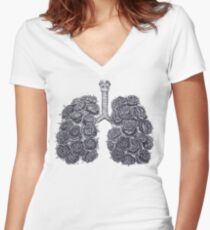 Lungs with peonies Women's Fitted V-Neck T-Shirt
