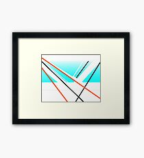 Breeze Urban Abstract Harbour Minimalist Landscape Blue White Framed Print