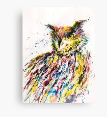 LONG-EARED OWL IN RED Canvas Print