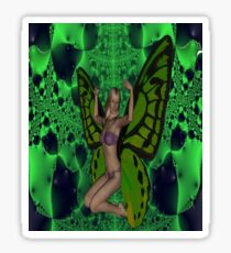 Green  Butterfly Woman Sticker