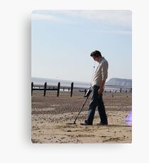 Onlookers were delighted at Dave's new Inspector gadget metal detecting Third leg....Much fun was always had with his third leg on quiet evenings in. Canvas Print