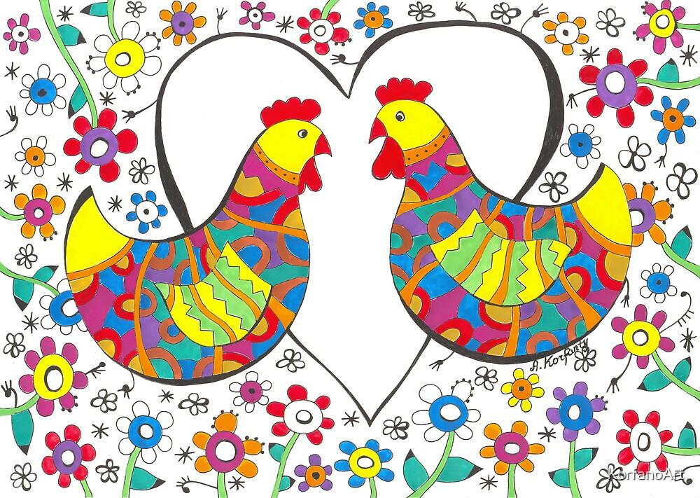 Lovely hens by KorfanoArt