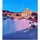 Rom Szene mit Motorroller und Blick auf Vatikan mit Kuppel von St. Peter - Retro Poster  by artshop77