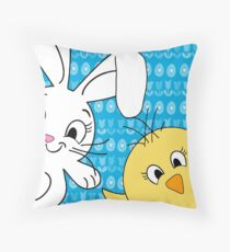 Easter bunny and chick  Throw Pillow