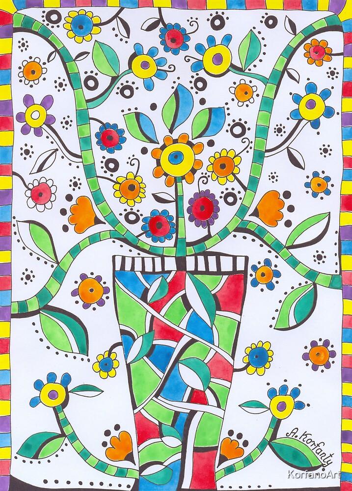 Folk flowers by KorfanoArt