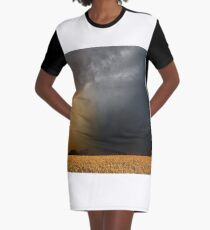 Storm Over Canolla Field  Graphic T-Shirt Dress