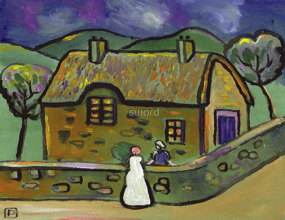 The thatched cottage (from my original acrylic painting) by sword
