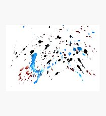 Blue and Black Painted Texture Photographic Print