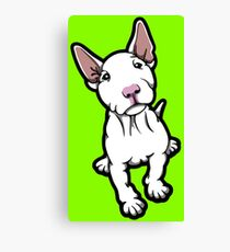 White Pink Nosed Bull Terrier Puppy Canvas Print