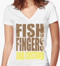Fish Fingers and Custard Women's Fitted V-Neck T-Shirt