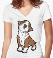 Adorable Bull Terrier Puppy Tan Women's Fitted V-Neck T-Shirt