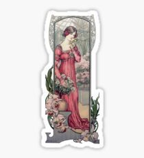 Vintage Alfons Mucha Girl With Flowers Sticker