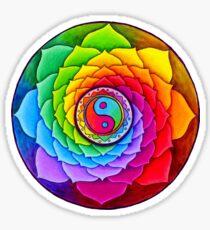 Healing Lotus Rainbow Yin Yang Mandala Sticker