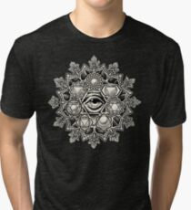 Anahata Seven Chakra Flower Mandala Tri-blend T-Shirt