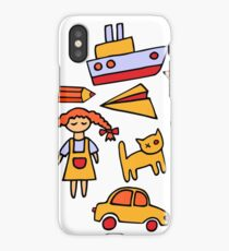 Set of funny toys iPhone Case/Skin