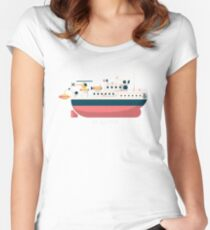 Minimalist Jacques Cousteau's Research Vessel Calypso Women's Fitted Scoop T-Shirt