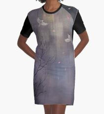 Trees and birds at dusk Graphic T-Shirt Dress