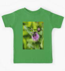 A Bee on a Purple Flower Kids Tee