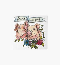 'Friends, not Food' Pig Veggie Vegan Illustration Art Board