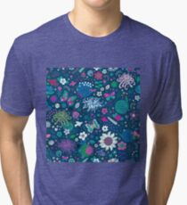 Japanese Garden - Blue, pink and white - exotic floral pattern by Cecca Designs Tri-blend T-Shirt