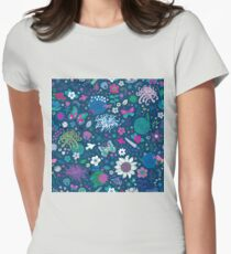 Japanese Garden - Blue, pink and white Womens Fitted T-Shirt