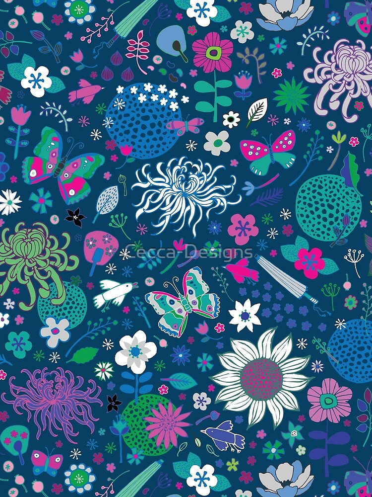 Japanese Garden - Blue, pink and white - exotic floral pattern by Cecca Designs by Cecca-Designs