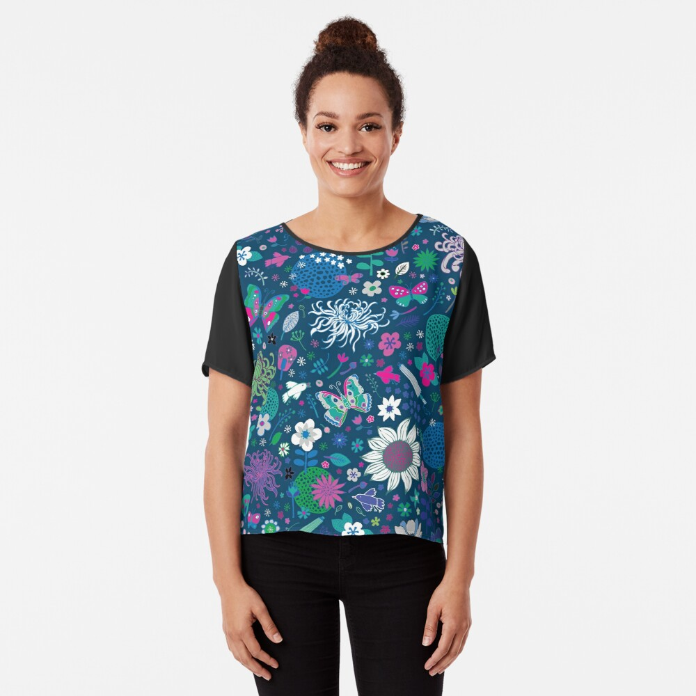 Japanese Garden - Blue, pink and white - exotic floral pattern by Cecca Designs Women's Chiffon Top Front