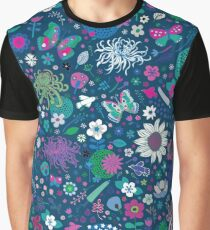 Japanese Garden - Blue, pink and white - exotic floral pattern by Cecca Designs Graphic T-Shirt