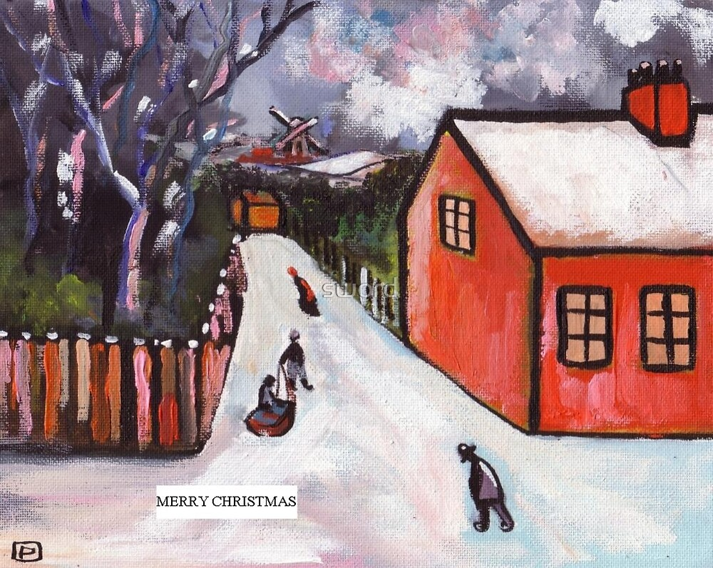 Merry christmas card  (from my original acrylic painting) by sword