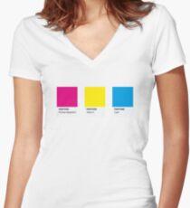 LGBT COLOR PANTONE PALLETE PANSEXUAL COMMUNITY DESIGN Women's Fitted V-Neck T-Shirt