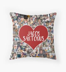I love Jacob Sartorius - with white outline Throw Pillow