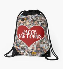 I love Jacob Sartorius - with white outline Drawstring Bag
