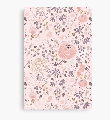 Field of Flowers in Pink and Purple Canvas Print