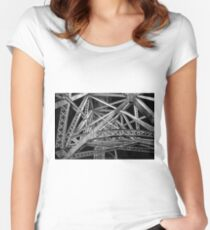 Steel Bridge in Black and White Women's Fitted Scoop T-Shirt