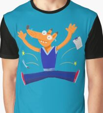 Celebration graduation fox jumping for joy Graphic T-Shirt
