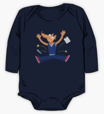 Celebration graduation fox jumping for joy One Piece - Long Sleeve