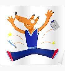 Celebration graduation fox jumping for joy Poster