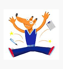 Celebration graduation fox jumping for joy Photographic Print
