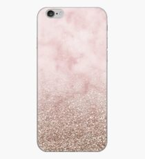 Rose gold carnation marble with glitter gradient iPhone Case