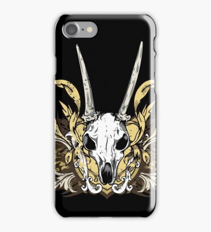 Goat Skull and Engraved Floral Detail iPhone Case/Skin
