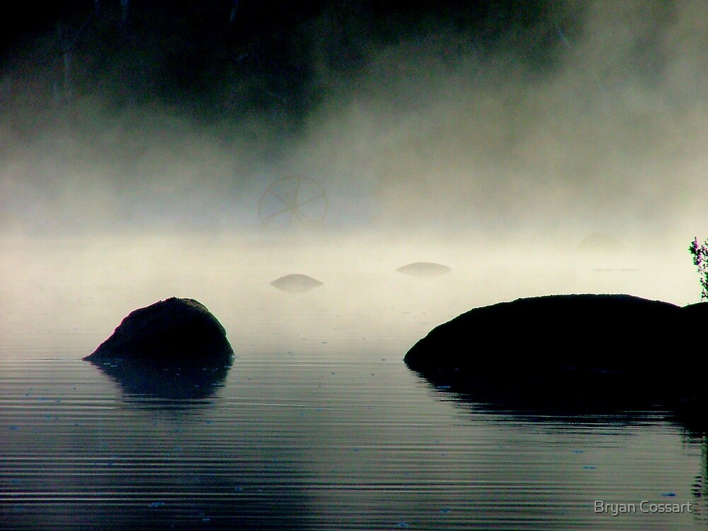 Misty rocks in the Thredbo River by Bryan Cossart