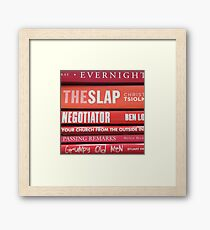 A Stack of Red and White Books Framed Print