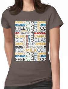 Typographic Coffee Pattern Womens Fitted T-Shirt