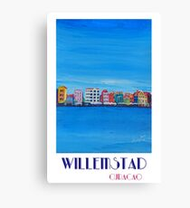 Willemstad Curacao Caribbean Antilles Harbor Promenade in Blue - Retro Poster Canvas Print