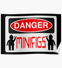 Danger Minifigs Sign Poster
