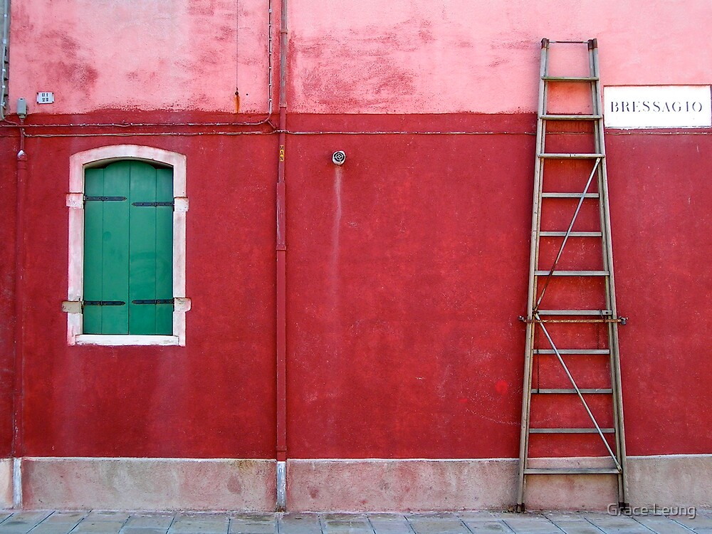 Red wall in Murano by Grace Leung